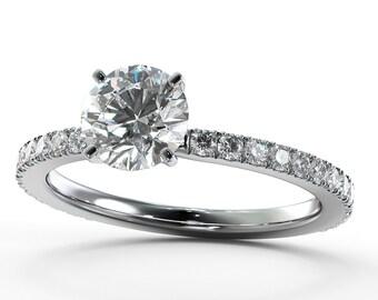 Diamond Engagement Wedding Ring Set with White Gold  Engagement Gift For Her Diamond Gold Ring FREE SHIPPING