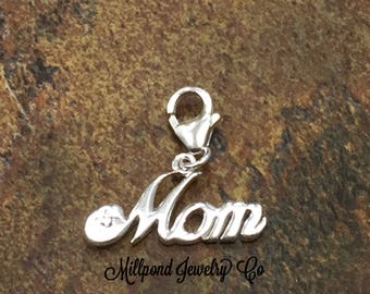 Mother Charm, Mother Sterling Silver Charm, Mother Script Charm, Sterling Silver Charm, Sterling Silver, PS42LC
