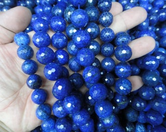 faceted 12mm Lapis Lazuli round beads, 15.5 inch