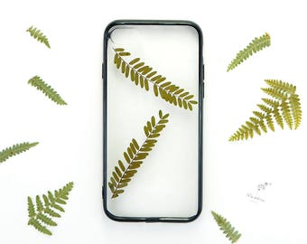 iPhone 7 botanical phone case with real pressed leaves and black bumper