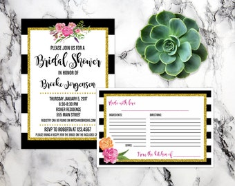 Gold, black and pink Bridal Shower Invitation and recipe card - PRINTABLE - DIGITAL DOWNLOAD