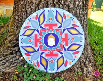 Mandala acrylic painting on MDF panel with Buddha head for meditation; mandala art and sacred geometry art; yoga art, boho chic art.