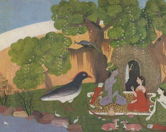 The Panchavati Hermitage - Indian Miniature Painting printed reproduction, 1983