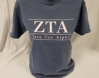 Christmas in July Sale! Zeta Tau Alpha Comfort Color Short Sleeve Tshirt, Blue Jean