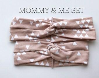 Neutral Triangles : Mommy & Me set - turban headbands