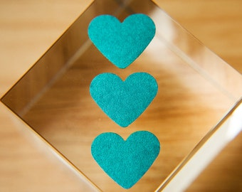 Teal heart stickers. Envelope seals, gift sticker, bag stickers, gift box seal, favour bag, wedding labels Stationary pearl Love hearts