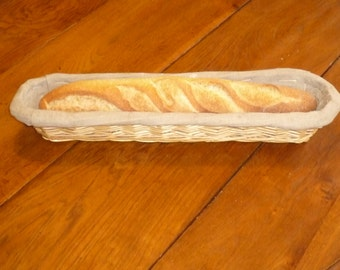 Authentic French Baguette mould Bread basket with linen Wowen wicker Breadbasket Display French country home decor