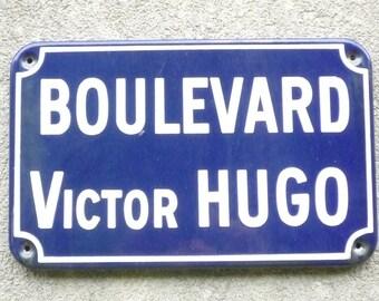 Vintage French Enamel Porcelain Street Sign  Boulevard Victor HUGO Paris XVI ème