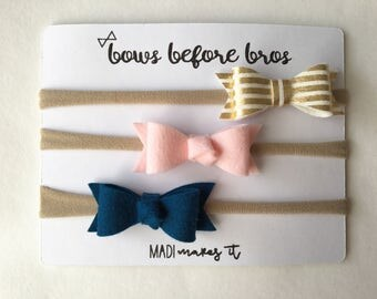 Personalized Headband Set for Baby - Bow Headband Set for Girl - Gift Set for Newborn Girl - Gold and Pink Bows for Baby Girl - Felt Bow Set