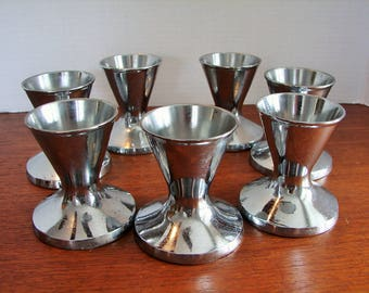 1940's Set of 7 Chrome Dixie Cup Sundae Cup Holders, Soda Fountain Style, Hourglass Shape, Weighted Bases, Holder No 8725, Made In U.S.A.