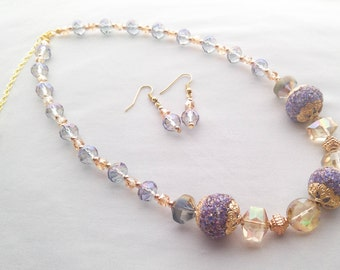 Beaded Necklace and Earrings Set - Purple, Rose Gold and Gold