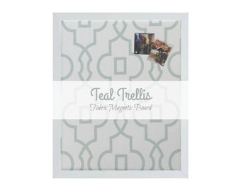 Fabric Magnetic Board / Teal Trellis / Elegant Geometric Pattern / 10 Strong Magnets Included