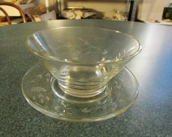 Vintage Crystal Princess House Heritage Mayonnaise / Relish Bowl & Under plate