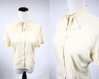 1940's Ivory Silk Button-up Blouse w/ Neck-tie