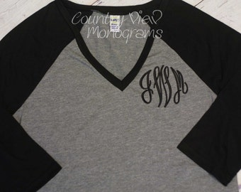 Womens Raglan Baseball Monogram Shirt--Womens Sizes Three Quarter Sleeve Length Baseball Monogram