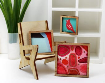 Set of 3 Miniature Artworks - Bright Reds Collection