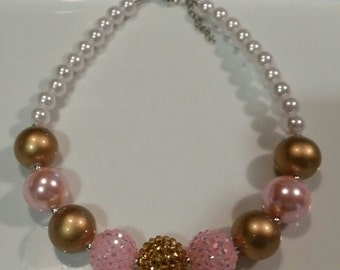 FREE SHIPPING, pink gold pearl bubblegum necklace