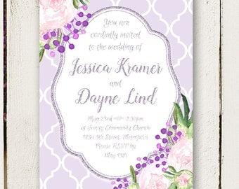 Peony Wedding Invitations - Purple and Silver - Elegant Invitations - 2 pc including RSVP postcards