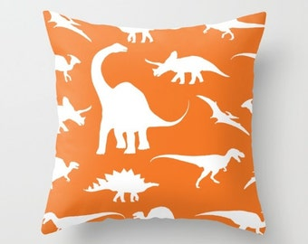 Dinosaurs Pillow With Insert - Dinosaurs Decor - Orange Pillow Cover - Boy Bedroom Decor - Dinosaur Cushion Cover - Accent Pillow