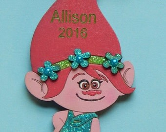 Personalized Poppy Troll Christmas Ornament - FREE SHIPPING