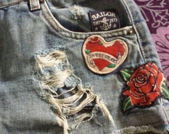 Vintage 80's Destroyed Denim Festival Shorts Cutoffs Daisy Dukes