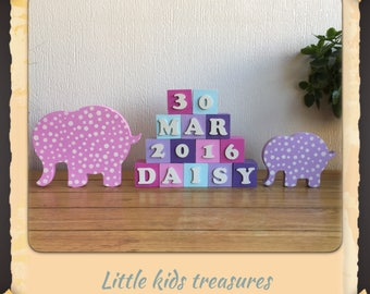 Personalised name blocks with elephants - pink / lilac - Little kids treasures