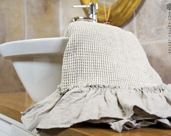Linen taupe bath towel with ruffles- Waffle textured linen towel- Softened linen travel towel- beach towel