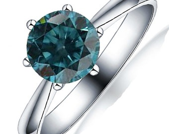 Limited Time Sale Half Carat Real Blue Diamond Solitaire Engagement Ring in 10k White Gold on Sale Under 300