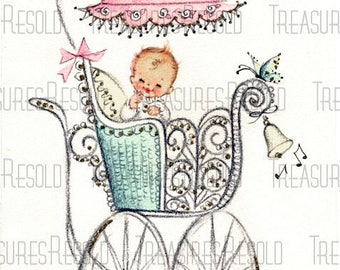 Congratulations New Baby Girl In Buggy Carriage Stroller Card #630 Digital Download