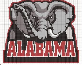 Crochet Alabama Crimson Tide Graph Pattern, PDF Digital Files