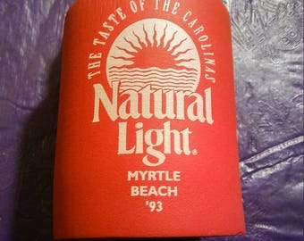 Vintage 93 Natural Light Beer Holder Myrtle Beach Taste of the Carolinas Red Foam Beer Chiller Bike Week