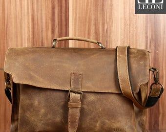 LECONI Briefcase business bag Messenger bag vintage leather olive LE3008-cra
