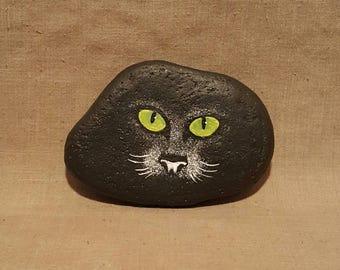 Hand Painted Rock, Black Cat, Kitten, Feline, Whiskers, Kitty, Face, Eyes