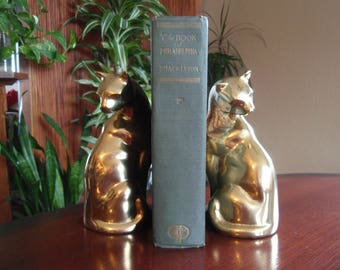 Brass Cat Bookends Figures Statukres Made in Korea Home and Living décor C448