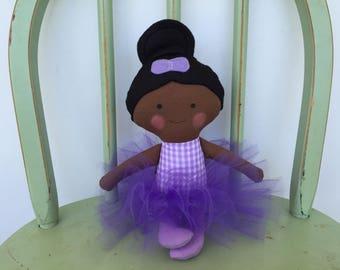 Handmade Black, African American Ballerina Doll in Purple, Lavender