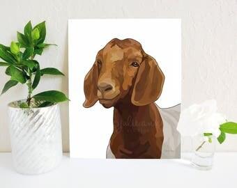 Goat Art Print, Goat Painting, Boer Goat Sign, Modern Farmhouse Decor, Rustic Decor, Farm Decor, Kids Animal Art, Show Goat, Farm Animal Art