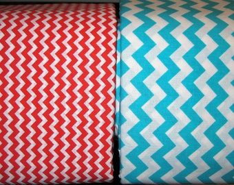 100 percent cotton chevron fabric/aqua/red/white/quilting/crafts/apparel