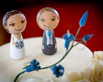 Cake Topper/Couple/Bride and Groom/Mr and Mrs - approx. 6,5 cm tall