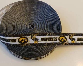 Iowa Hawkeyes Custom 1 inch Grosgrain Ribbon 1 yard