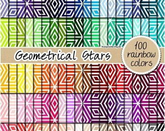SALE 100 geometric star digital paper star pattern rainbow printable stickers star photo backdrop moroccan pattern 12x12 pastel & bright col