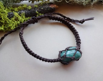 Green Jade macrame knotted adjustable Bracelet