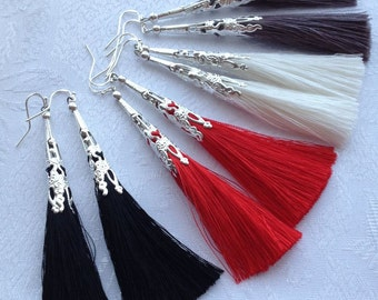 Long Red tassel earrings, Dark Gray or Light Gray tassel earrings, White tassel earrings, fringe tassel earrings, dangle  earrings
