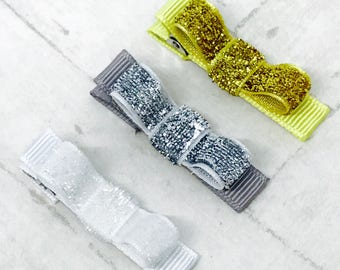 Baby toddler hair clips, glitter metallic colours, sparkle clips, ribbon lined hair clips with tuxedo bow, non-slip hair clips, silver, gold