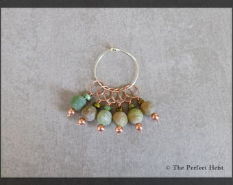 Stitch Markers, Fire Agate, Knitting, Copper, Green