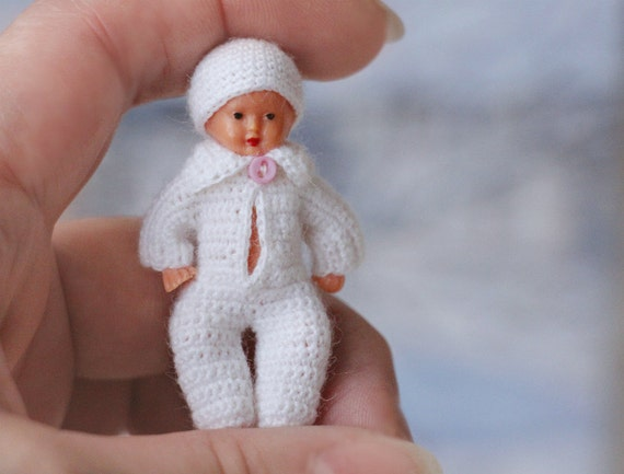 Crochet Mini Doll Clothes : 2 doll miniature clothes Crochet white clothes for baby