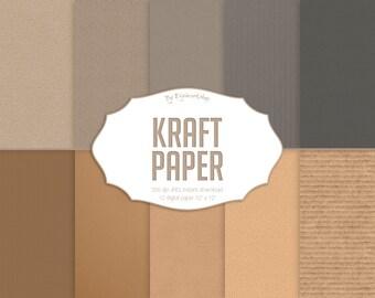 "Kraft Digital Paper: ""Kraft Paper"" with digital paper and cardboard textures, kraft paper backgrounds in neutral colors"