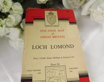 Scottish Cloth Map, Loch Lomond, Vintage