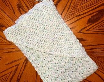 Hooded crocheted heirloom one of a kind baby blanket