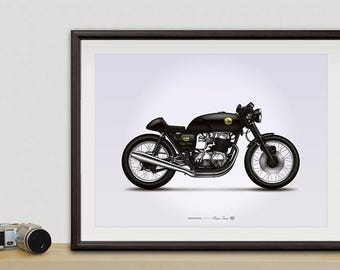 Honda CB750 cafe racer motorcycle illustration poster, print 18 x 24 inches
