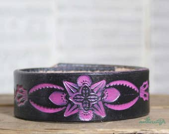 CUSTOM HANDSTAMPED narrow black leather cuff with hot pink design by mothercuffer